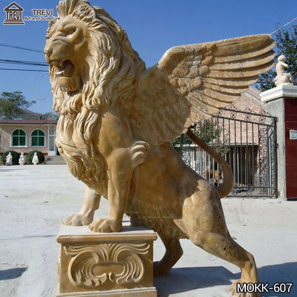 Western Beige Marble Standing Winged Lion Sculpture for Sale MOKK-607