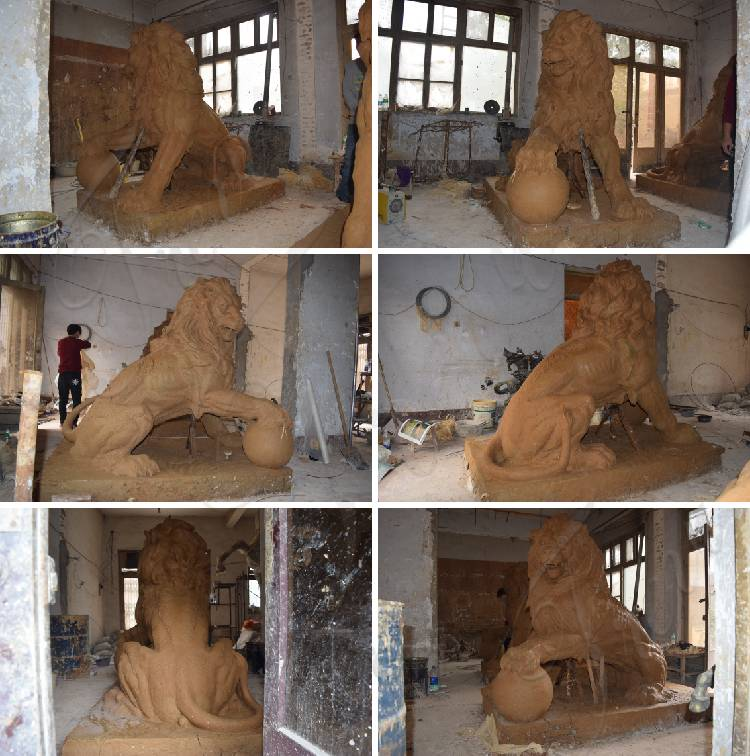 clay model of lion statue