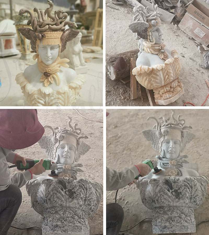 process of Hand of Medusa Marble Art Sculpture