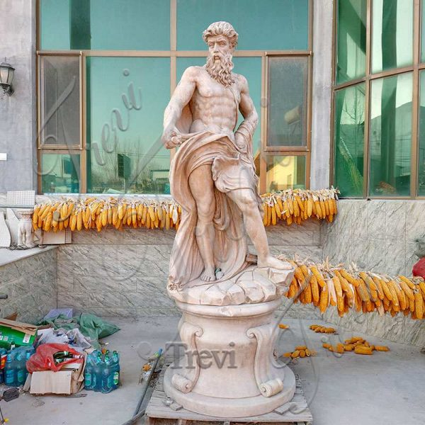 Beige Marble Poseidon Statue Greek Roman God of The Sea Supplier MOKK-623