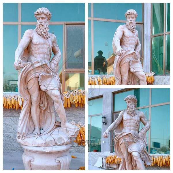 Beige Marble Poseidon Statue Greek Roman God of The Sea
