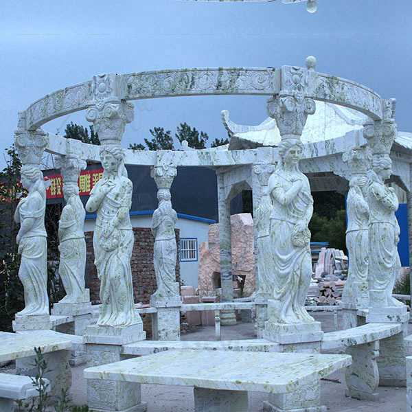 Custom Made Green Marble Gazebo Carved with Lady Statues MOKK-637