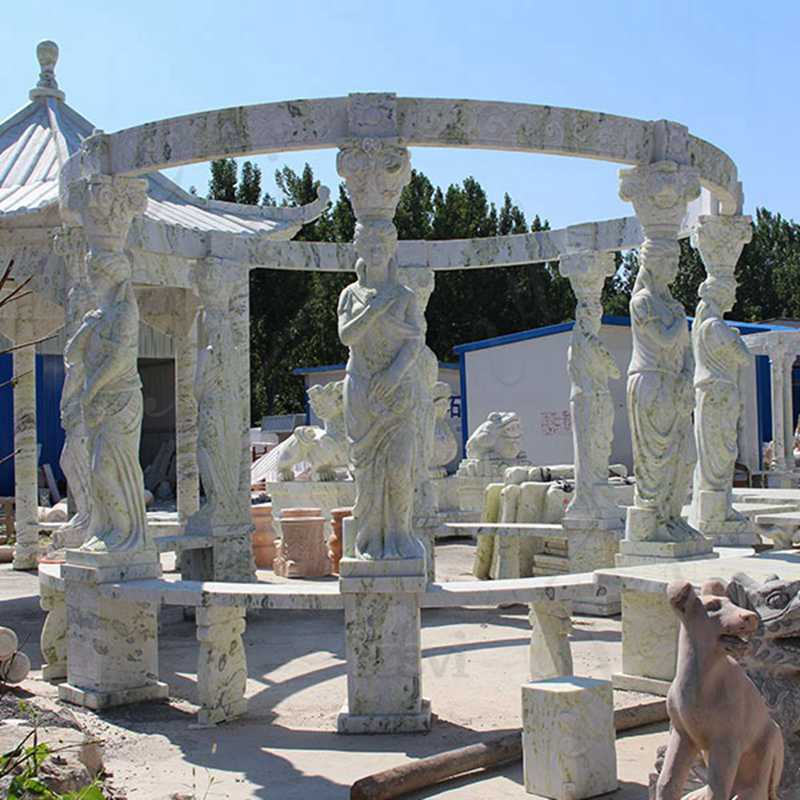 Custom Made Marble Gazebo Carved with Lady Statues
