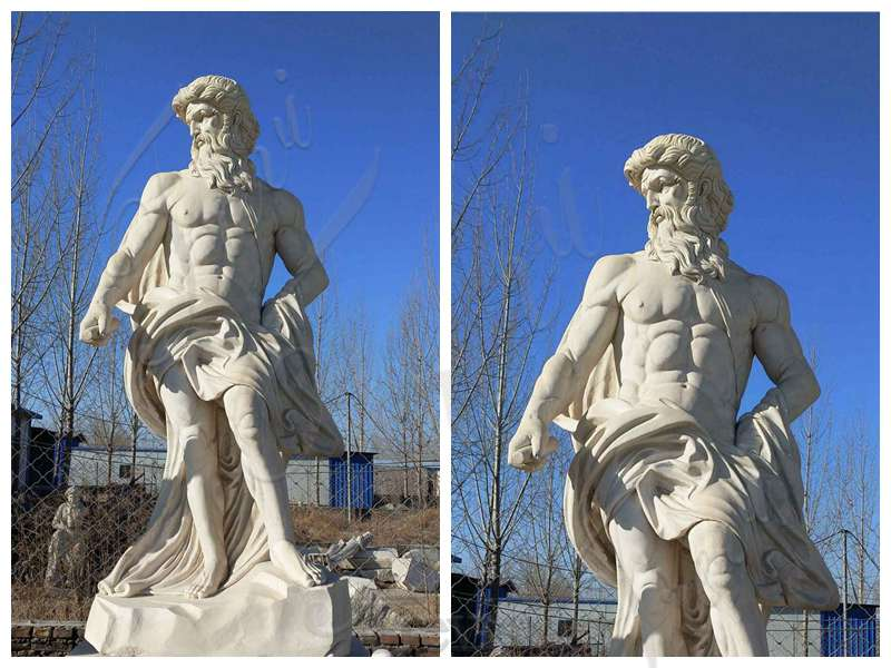 Greek Beige Marble Poseidon Statue