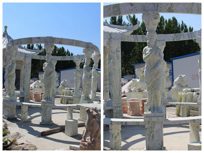 Green Marble Gazebo Carved with Lady Statues