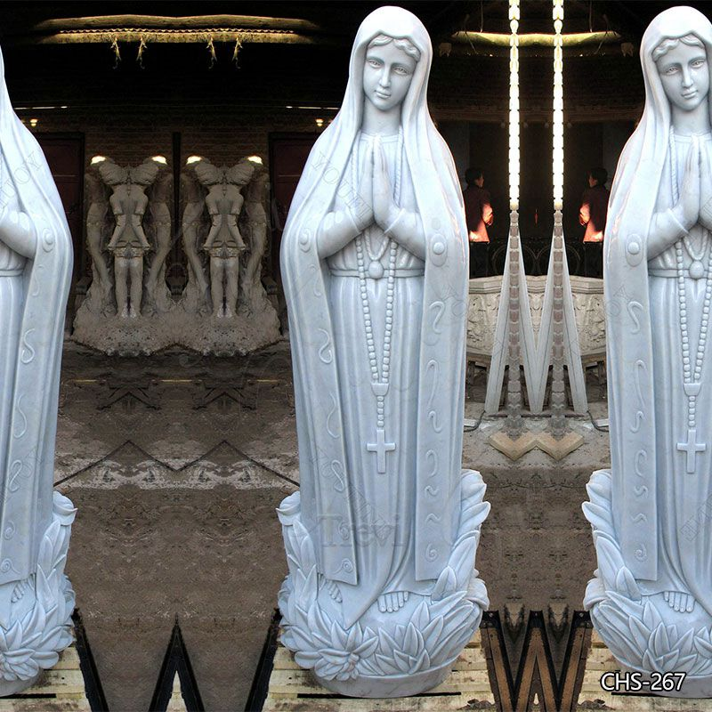 Hand Carved White Marble Virgin Mary Statue Outdoor for Sale
