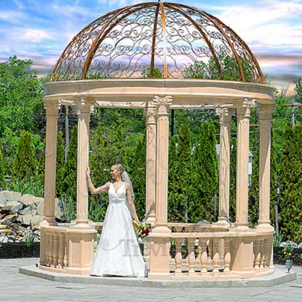 Large Beige Marble Column Gazebo for Sale MOKK-618
