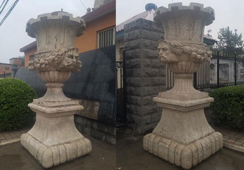 Large Outdoor Beige Marble Planters for Sale