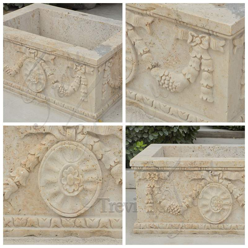 Modern Rectangle Beige Marble Planter for Sale