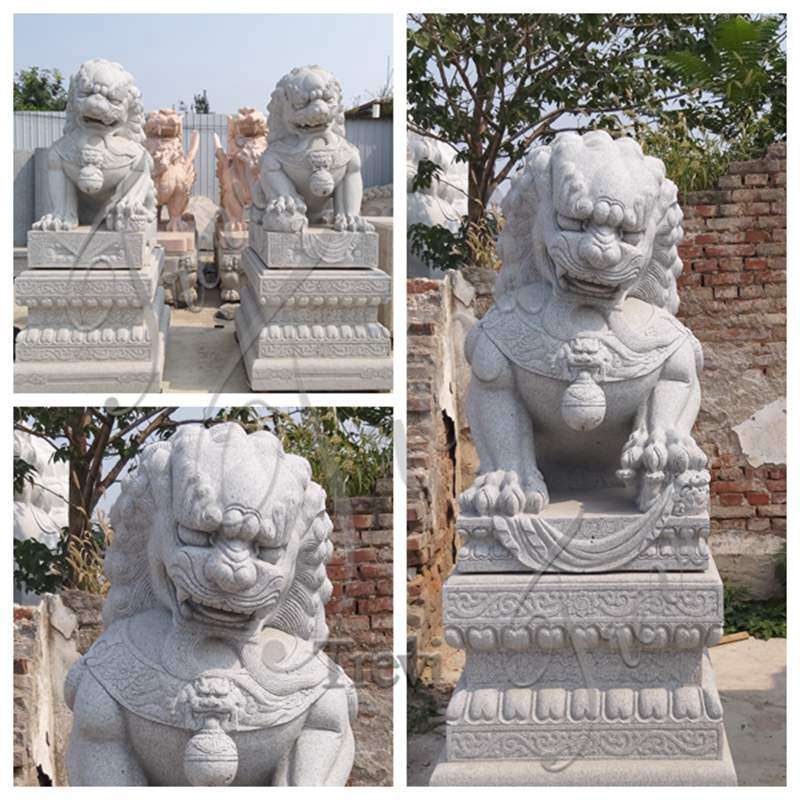 Natural Stone Foo Dog Statue for Outdoor Decor