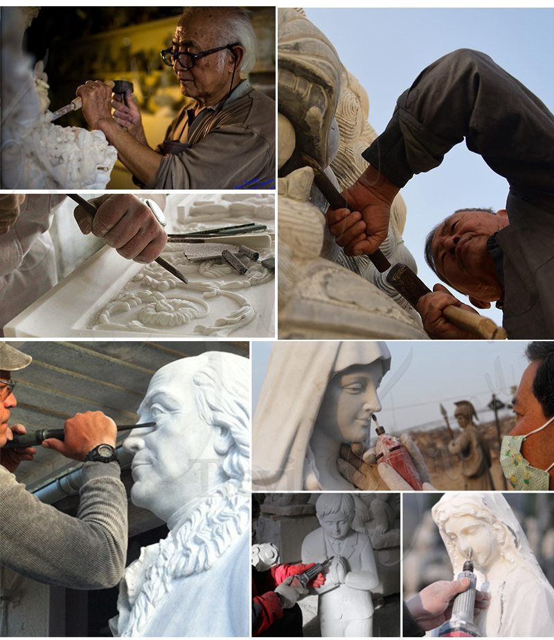 Process of White Marble Virgin Mary Statue Outdoor for Sale