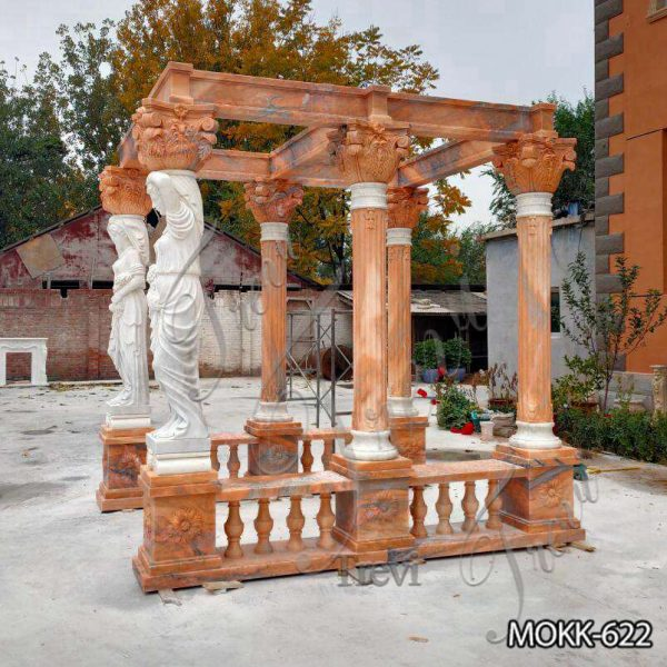 Rectangle Red Marble Statuary Gazebo for Backyards MOKK-622