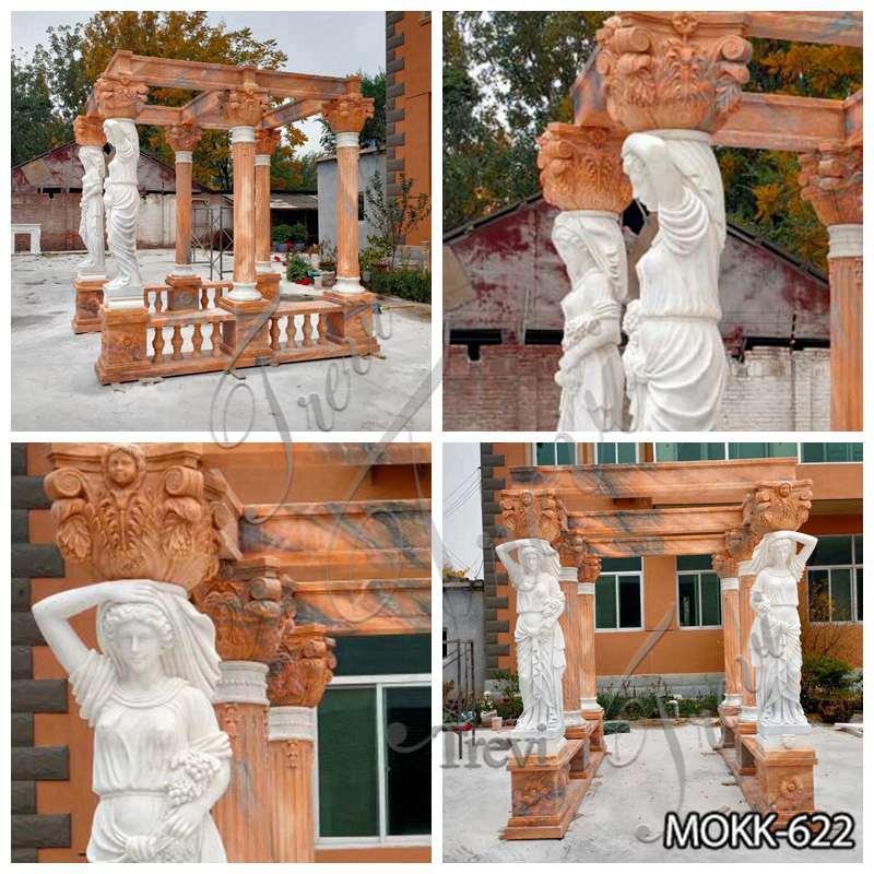 Rectangle Red Marble Statuary Gazebo for Backyards