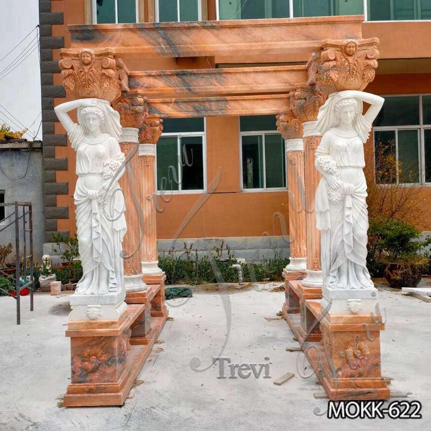 Red Marble Statuary Gazebo for Backyards