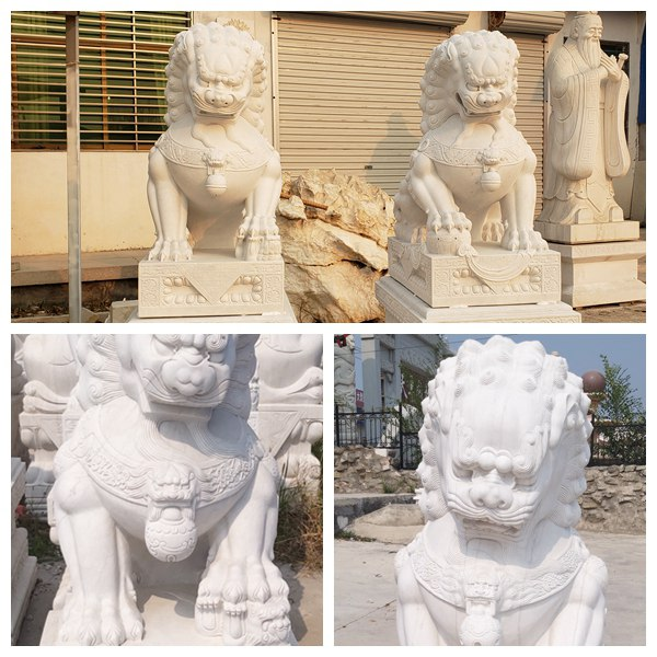 White Marble Chinese Foo Dog Statues Factory Supply