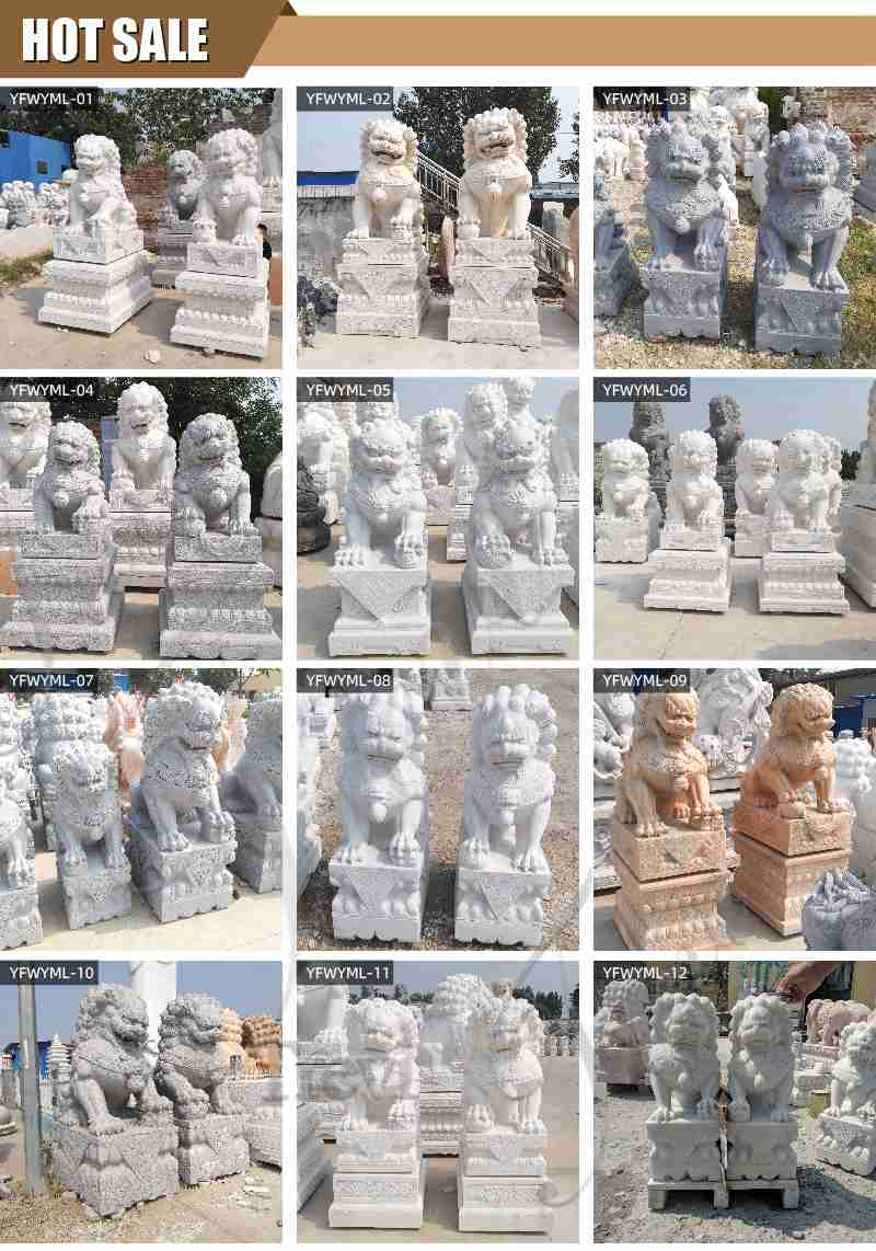 White Marble Chinese Foo Dog Statues