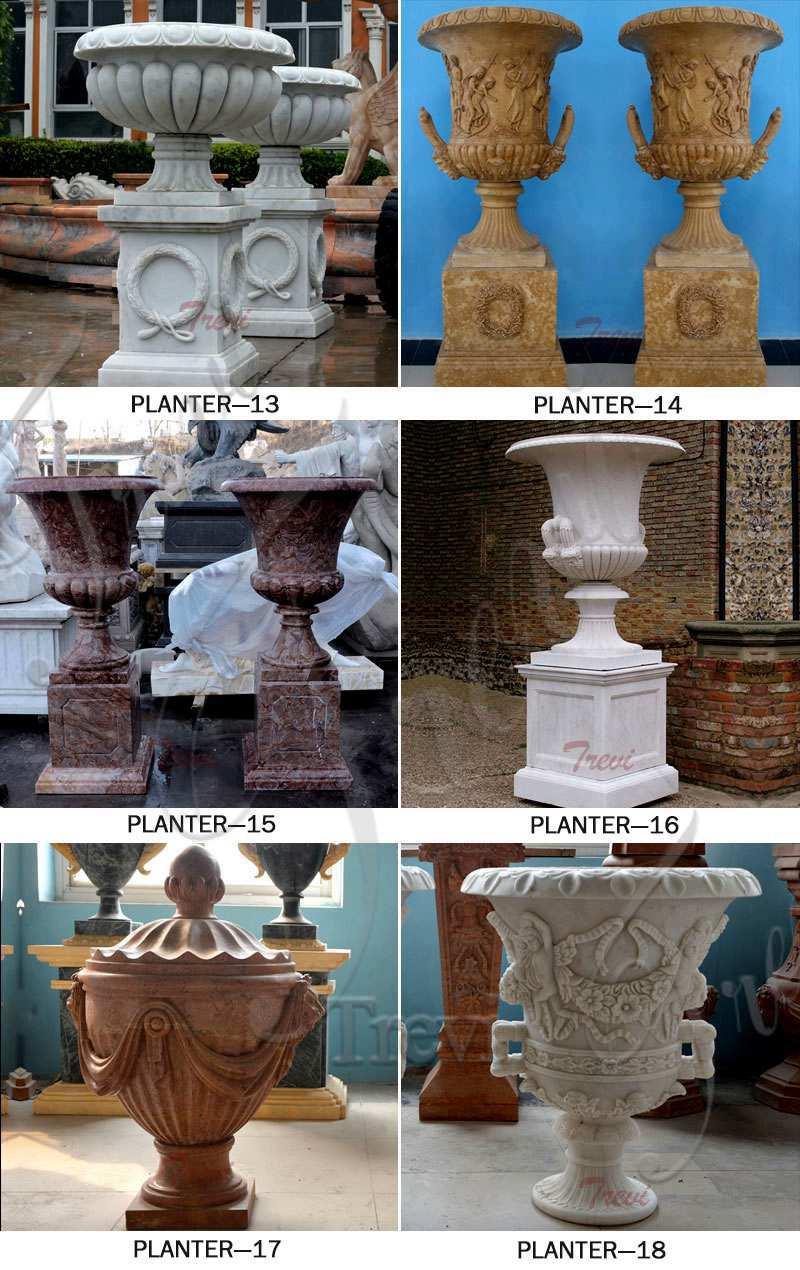 White Marble Plant Pots for Sale
