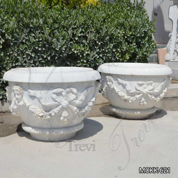 White Marble Plant Pots with Round Basin for Sale MOKK-621