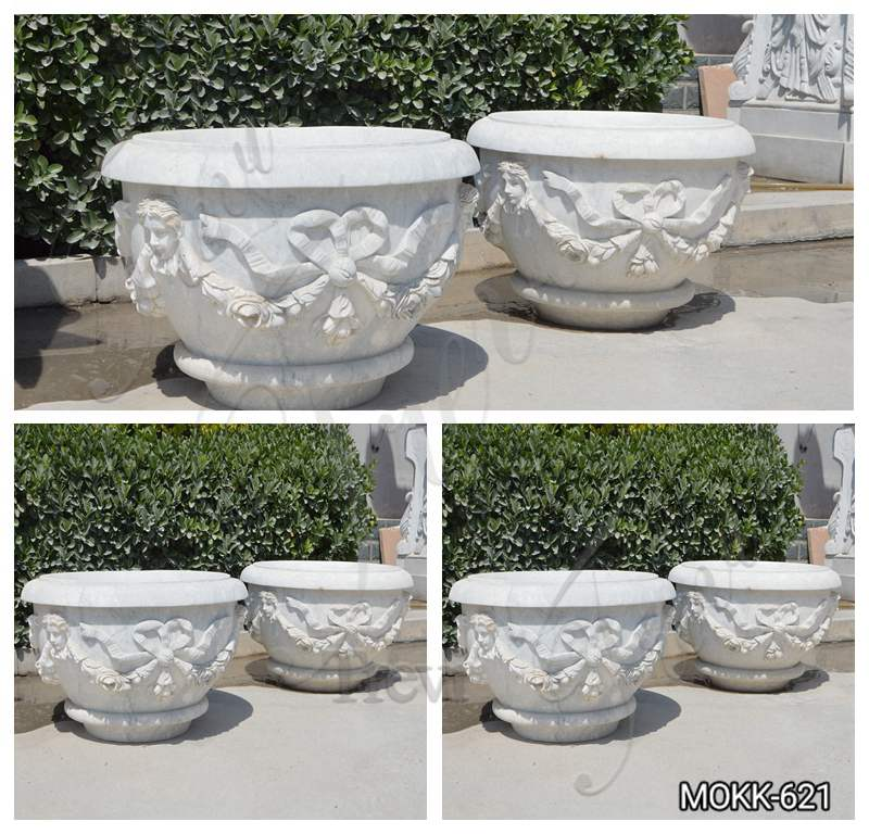 White Marble Plant Pots with Round Basin