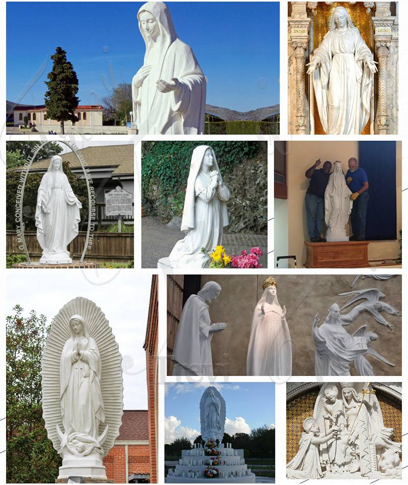 White Marble Virgin Mary Statue Outdoor for Sale