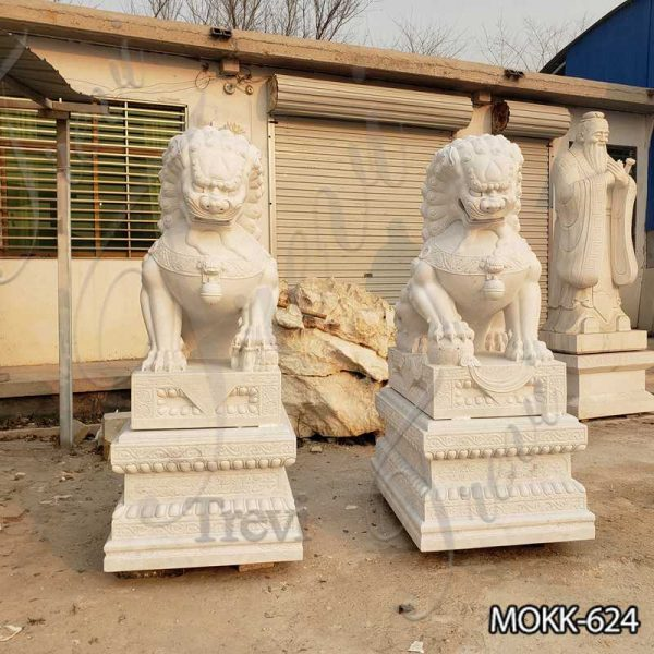 White Marble Chinese Foo Dog Statues Factory Supply MOKK-624