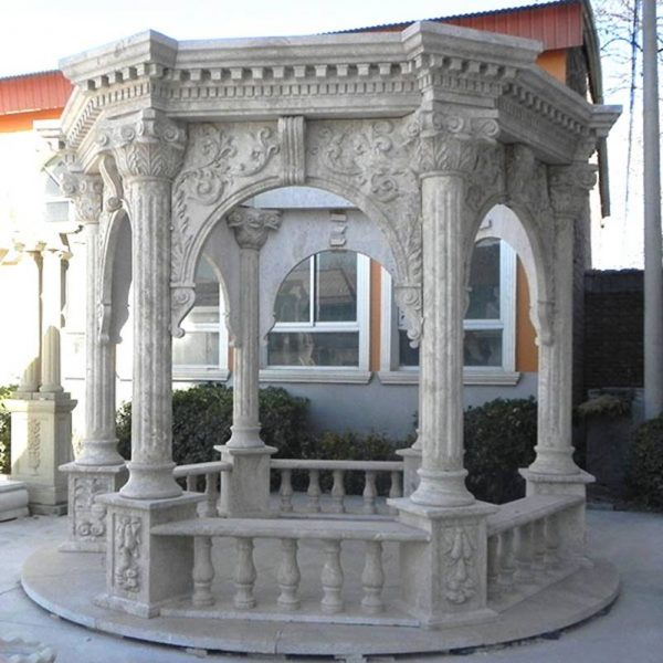 Classic Antique Marble Stone Column Gazebo Outdoor Supplier MOKK-638