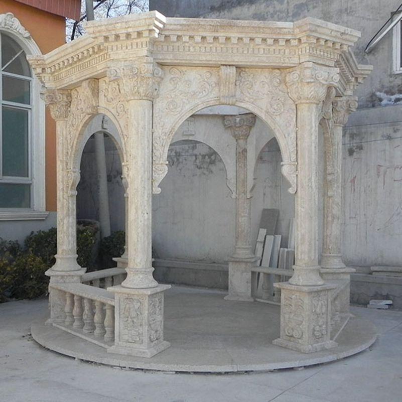 Classic Antique Marble Stone Column Gazebo Outdoor Supplier