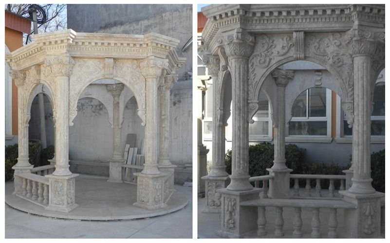 Classic Antique Marble Stone Column Gazebo Outdoor