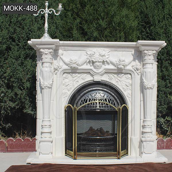 Hand Carved White Marble Fireplace Mantel Manufacturer MOKK-488