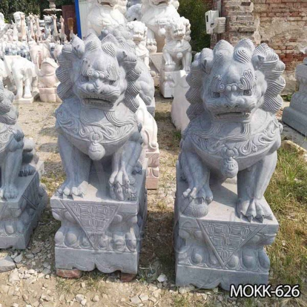 Hand Made Stone Chinese Foo Dog Statue for Front Porch Supplier MOKK-626