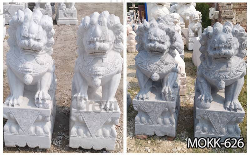 Hand Made Stone Chinese Foo Dog Statue for Front Porch
