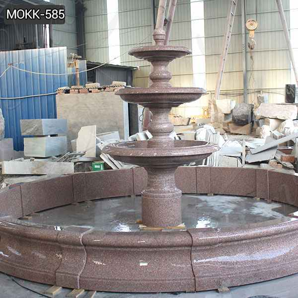 High Polished Red Granite Tiered Fountain Supplier MOKK-585