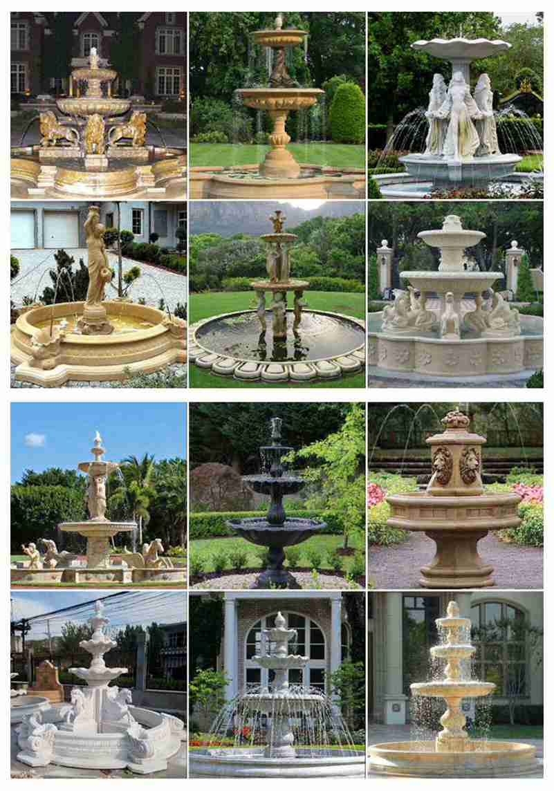 High Polished Red Granite Tiered Fountain