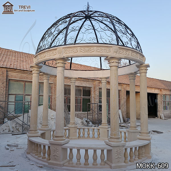 Large Egyptian Beige Marble Column Gazebo for Sale MOKK-609