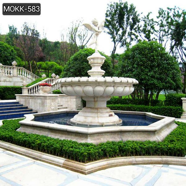 Large Outdoor Marble Fountains with Baby Statue Wholesale MOKK-583