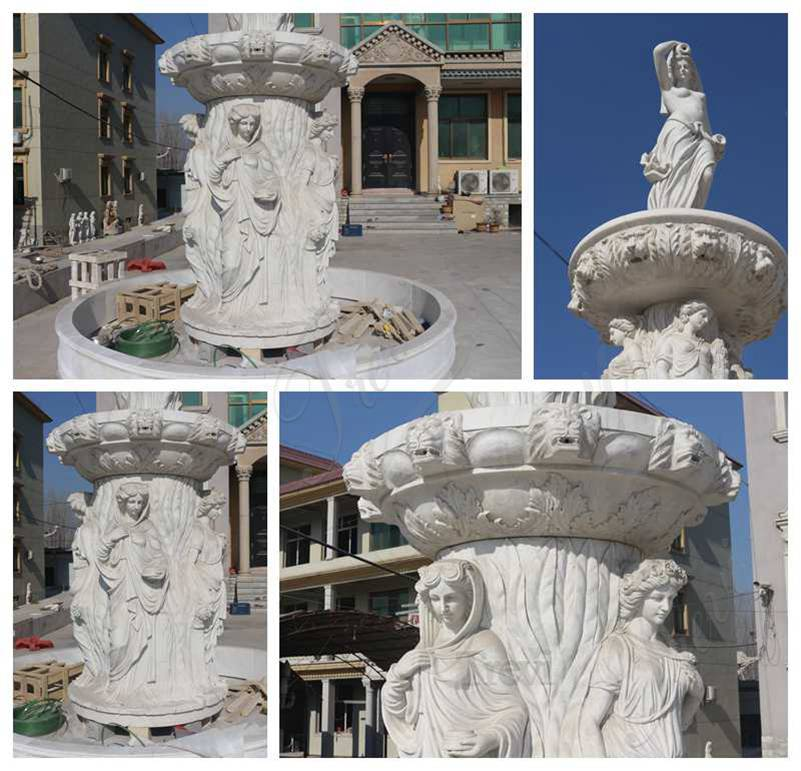Large Tiered Marble Statuary Fountain for Garden