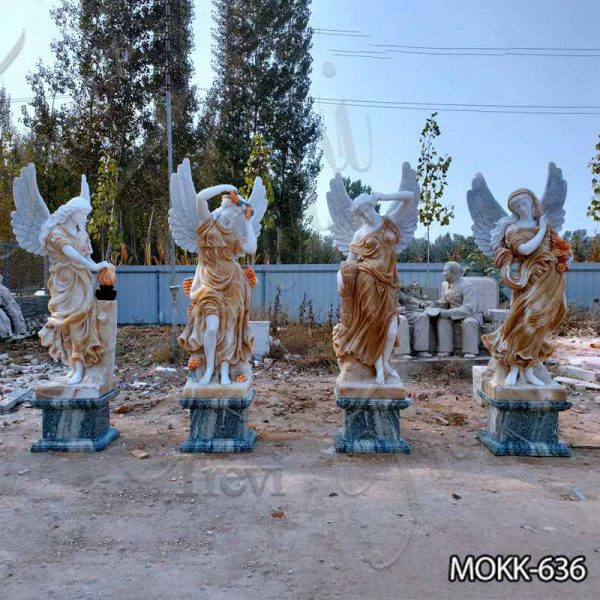Outdoor Garden Marble Winged Four Seasons Statues for Sale MOKK-636
