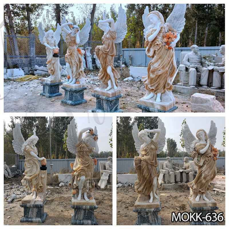 Outdoor Garden Marble Winged Four Seasons Statues