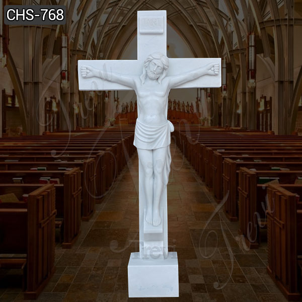 Outdoor Life Size Marble Crucified Jesus Statue for Sale CHS-768