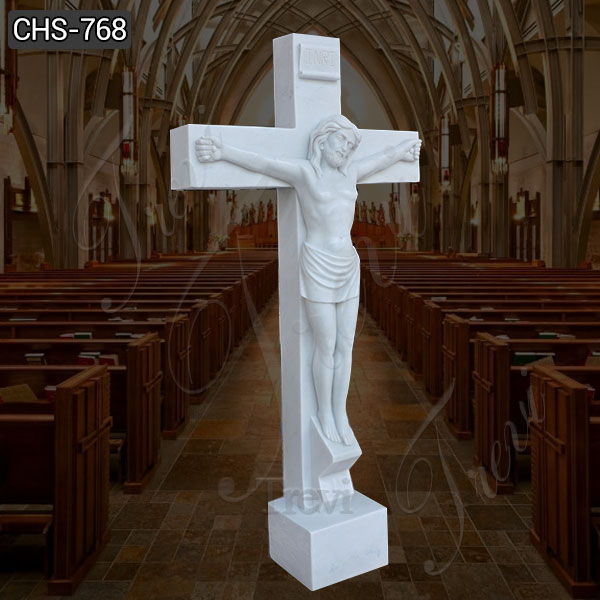 Outdoor Life Size Marble Crucified Jesus Statue