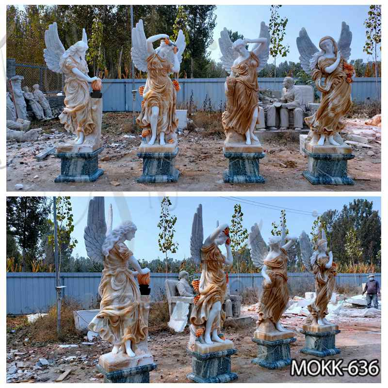 Outdoor Marble Winged Four Seasons Statues for Sale