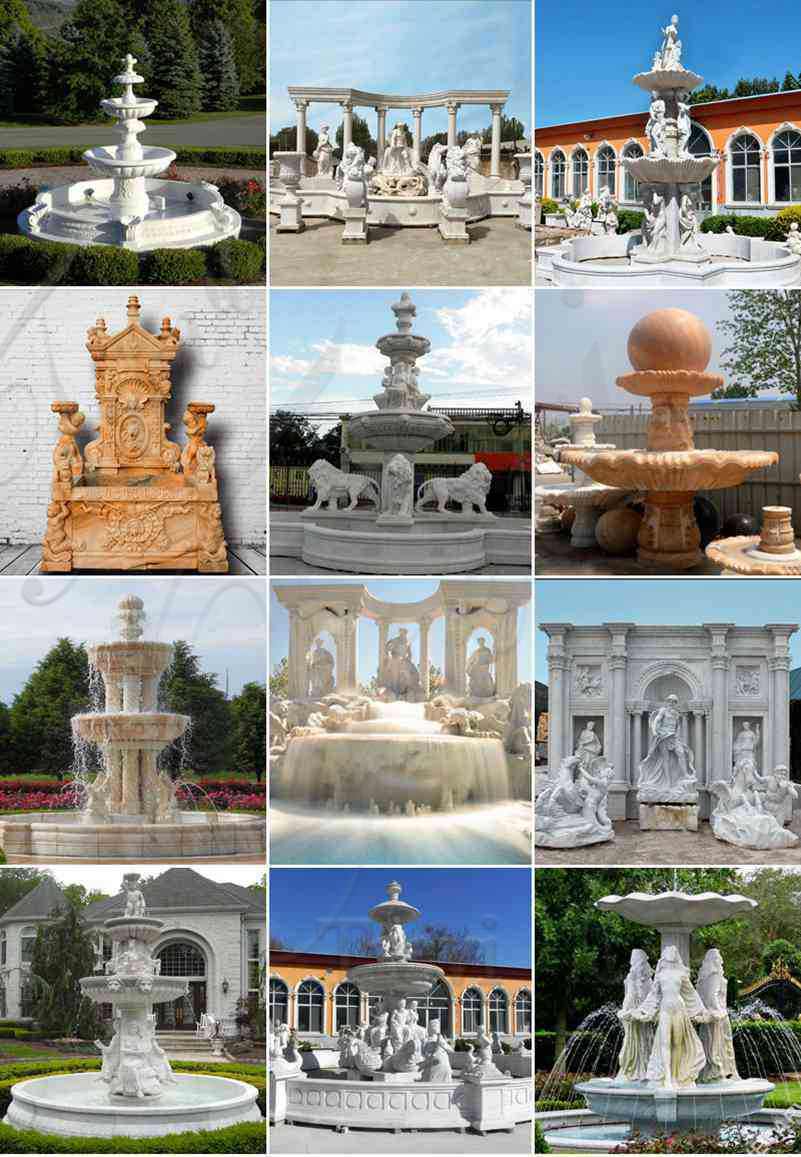 Outdoor Tiered White Marble Fountain for Sale