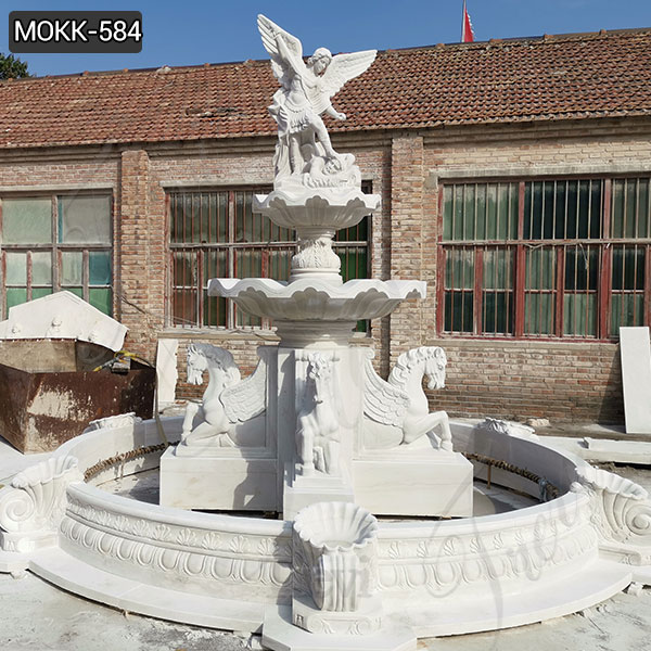 Outdoor Tiered White Marble St Michael Fountain for Sale MOKK-584