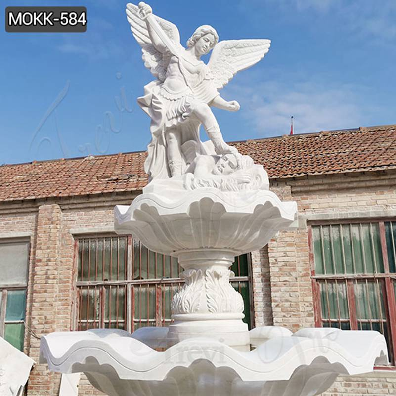 Outdoor Tiered White Marble St Michael Fountain