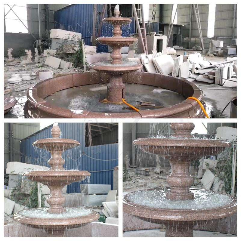 Red Granite Tiered Fountain Supplier