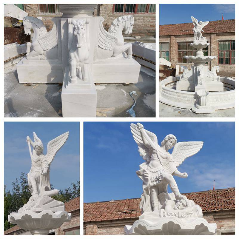 Tiered White Marble St Michael Fountain for Sale