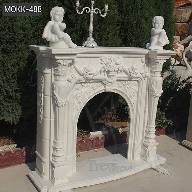 White Marble Fireplace Mantel Manufacturer