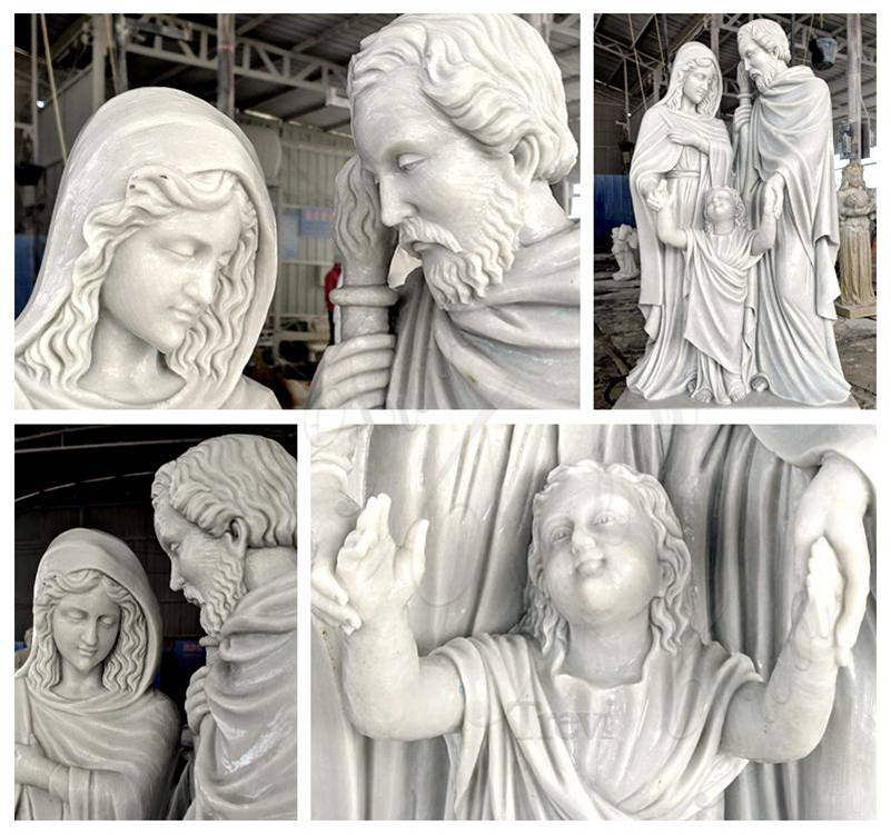 Church Life Size Holy Family Marble Statue detail