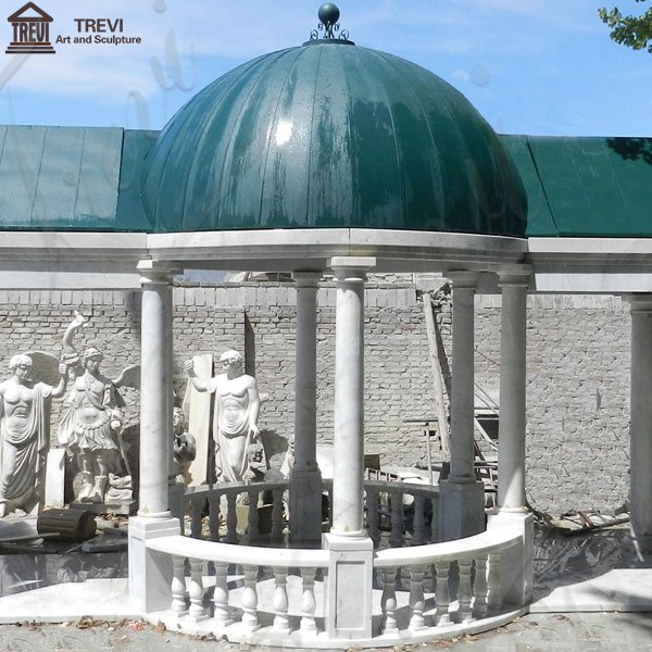 Customized Garden Decoration White Marble Gazebo for Sale Supplier MOKK-27