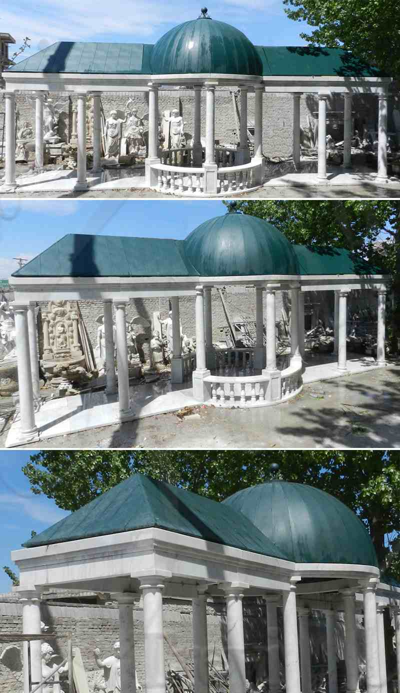 Customized Garden Decoration White Marble Gazebo for Sale